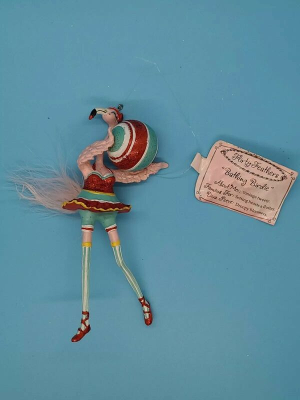 """BATHING BIRDIE"" WITH TAG PINK FLAMINGO FLIRTY FEATHERS CHRISTMAS ORNAMENT"