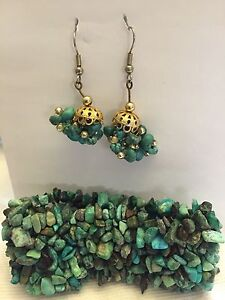 Turquoise bracelet and earrings
