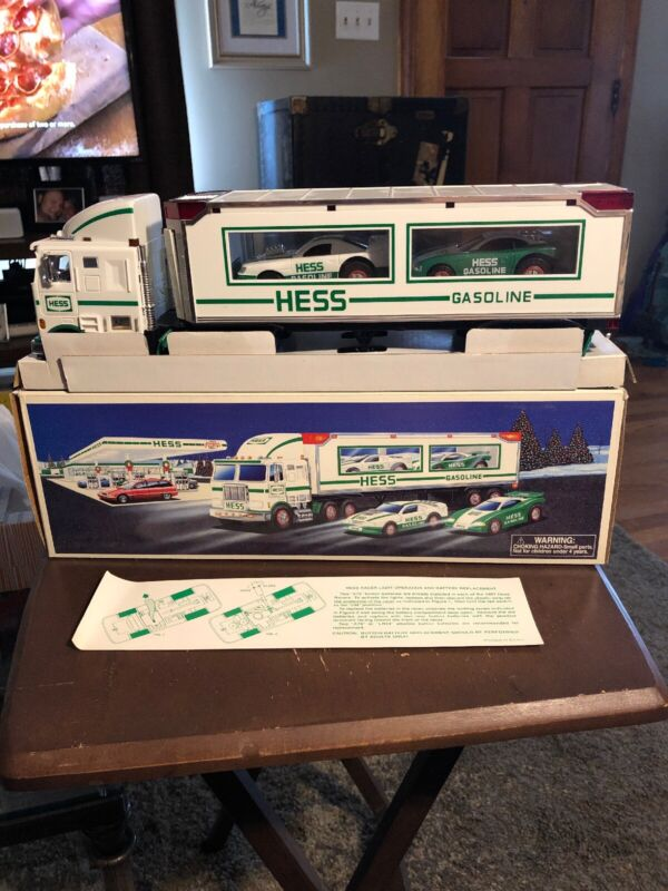 1997 Hess Gas Lighted Toy Truck & Two Racers NIB