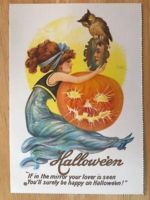 POSTCARD HALLOWEEN -HAPPY ON HALLOWE'EN EARLY 20th CENTURY REPRO VIEW # 2](Happy Halloween Postcards)
