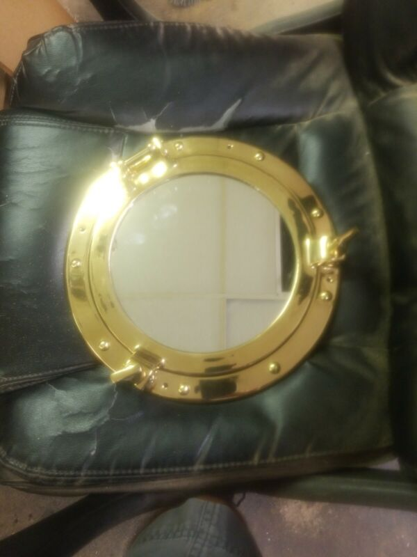 "Vintage Solid Brass Porthole Mirror Maritime Nautical Ship Window 11"" Wall Decor"