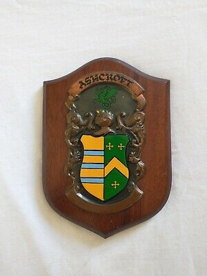 Vintage Wood/Metal Heraldic Shield or Family Crest Plaque - Ashcroft