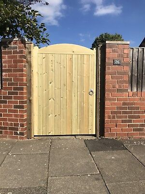 Staplewood Solid Bow Top Timber Gate. Bespoke Wooden Gates Made To Order.