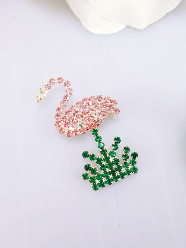 (W) Vintage Pink Florida Flamingo Bird Silver Prong Set Rhinestone Brooch Pin