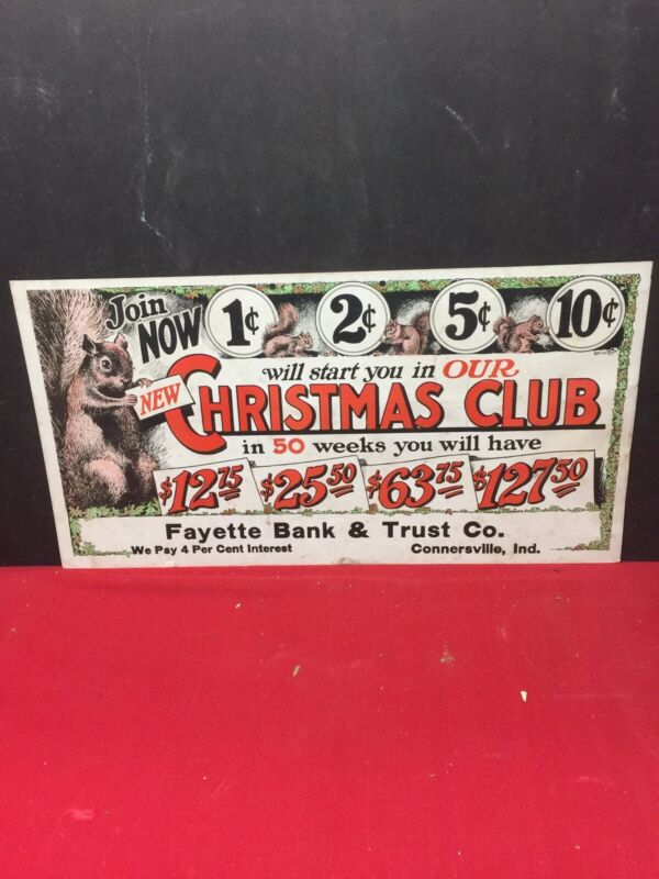 1910 Christmas Club Trolley Advertising Sign Fayette Bank & Trust Indiana