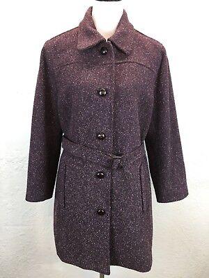 Bouclé Coat Petite (#BC Vtg LL Bean Sz L Petite Wool Silk Purple Boucle Belted Coat Leather Buttons)