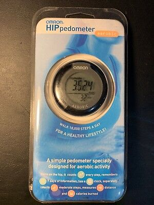 OMRON HJ-150 HIP SMART PEDOMETER 7 day history clock with belt clip + step count
