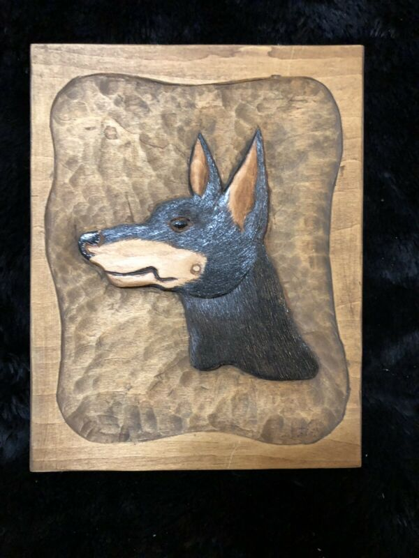 Hand Carved/Painted Manchester Terrier Wooden Plaque