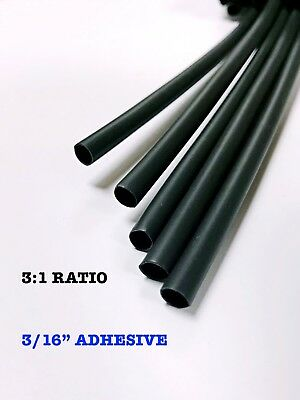 4 Ft. Black 316 5mm Dual-wall Adhesive 31 Ratio Heat Shrink Tubing M230534