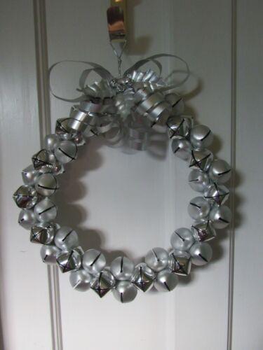 Cute! Silver Metal Jingle Bell Wreath Christmas Winter Door Decor