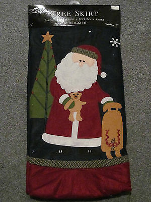 "BRAND NEW LARGE 48"" CHRISTMAS TREE SKIRT GREEN SANTA CLAUS TEDDY BEAR RED & BLUE"