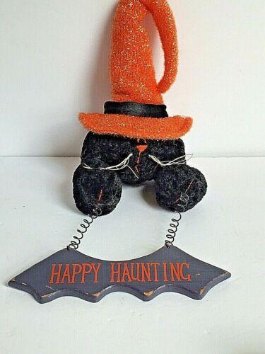 Halloween Black Cat Plush Torso Witches Hat Orange HAPPY HAUNTING Hanging Sign