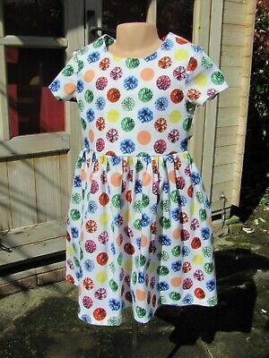 Girls Short-Sleeved Dress, Multi, Jewels, 4-5 Years, New, Handmade