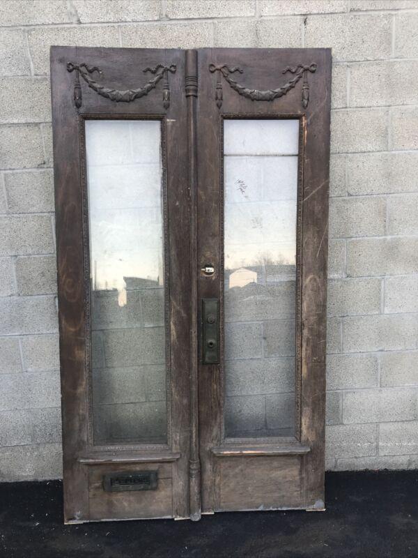 """Cm 709 Pair Antique Oak Double Door 48 X 84.25 X 2"""""""
