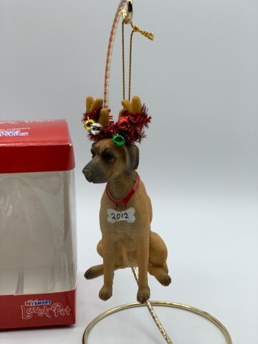 Resin Fawn Blonde Great Dane Reindeer PetSmart 2012 Ornament BOX INCLUDED