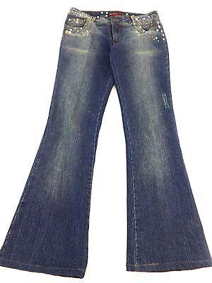 Jeweled Damen Jeans (Neeso Genietet Jeweled Damen Dunkel Gewaschener Denim Niedrig Sitzende)