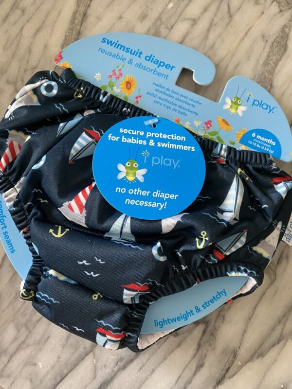 iPlay Reusable Absorbent Swim Baby Diaper Sz 6 Month Old New with Tags