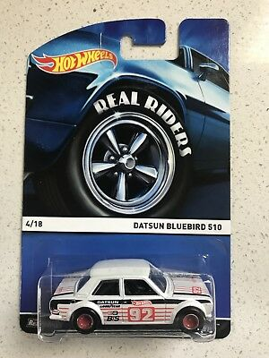 Hot Wheels Heritage Series Real Riders Datsun Bluebird 510 White Color