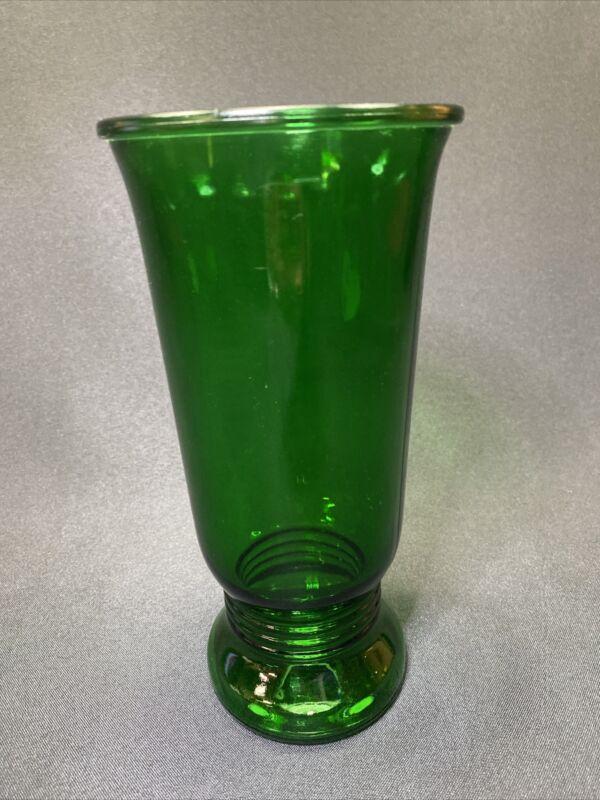 """Vintage Depression Glass Emerald Green Vase Ribbed Bottom 9.5"""""""
