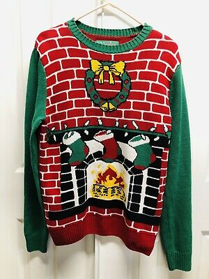 Ugly Christmas Sweater Mens Fireplace Stocking Crew Neck Size Small S/P/CH - Fireplace Ugly Sweater