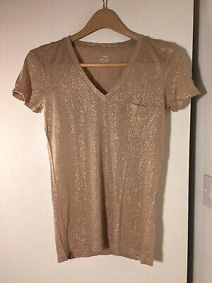 J Crew Metallic Gold Linen T-Shirt, Size XS