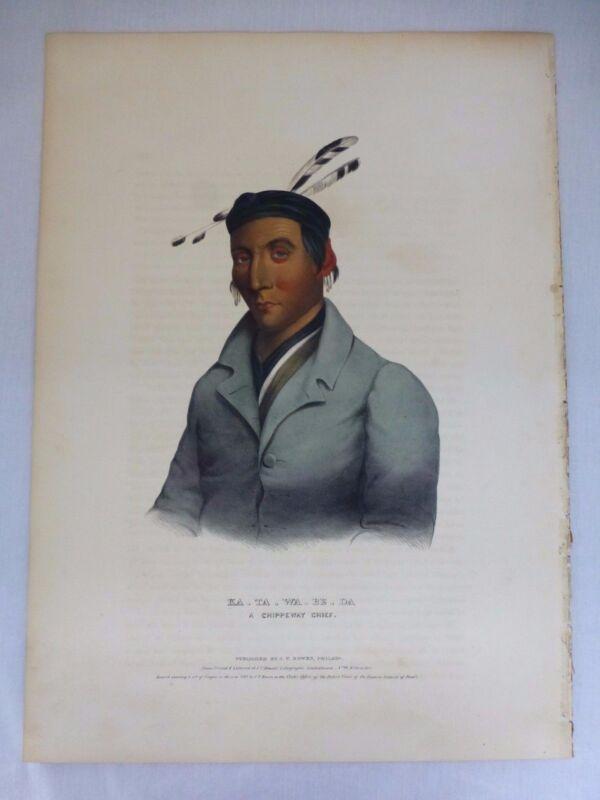 KA-TA-WA-BE-DA Chippeway Chief: Hand-colored Lithograph McKenney & Hall 1841