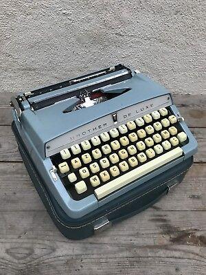 Antigua Máquina de Escribir BROTHER de lujo Metal Azul + Maletero Vintage