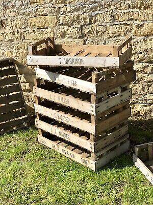 4 VINTAGE ANTIQUE RUSTIC WOOD FARM TRAY APPLE CRATE POTATO CHITTING BUSHEL BOX