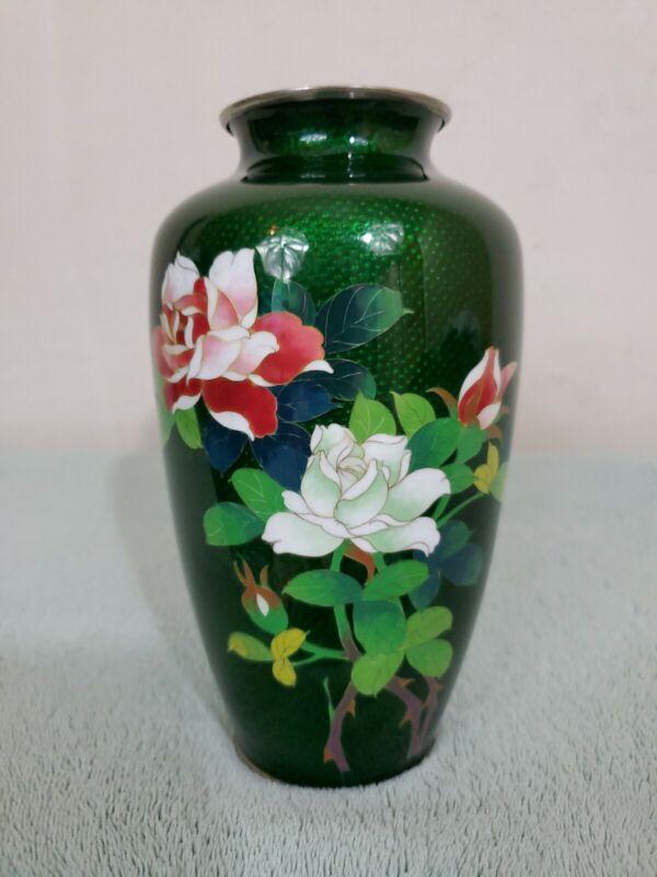 "Vintage Japanese Silver Wire Cloisonne Vase Green 7"""