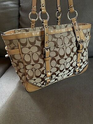 Coach Gallery F17057 Vintage Signature C Brown Large Adjustable Tote Bag 💼 COA