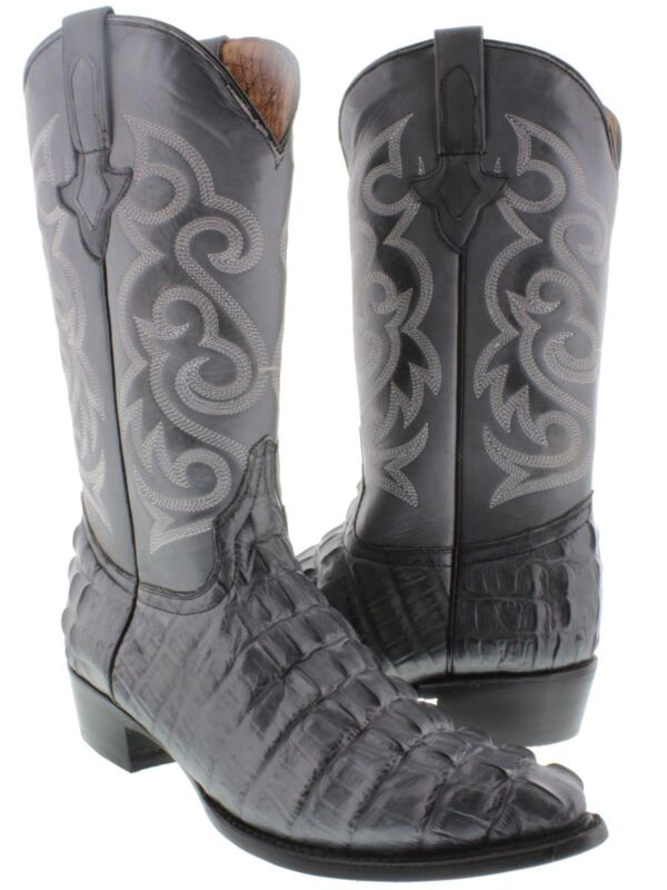 Mens, Cowhide, Gray, Cowboy, Crocodile, Alligator, Tail, Leather, J, Toe, Collection, Boots