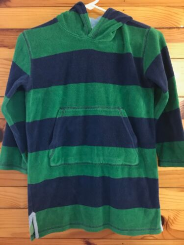 Mini Boden Hooded Toweling Swim Cover Up Boys Girls Green & Navy EUC Size 7-8Y