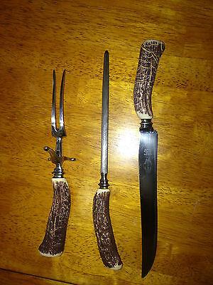 VTG Royal Brand Cutlery Co Sheffield England carving set horn bakelite stainless