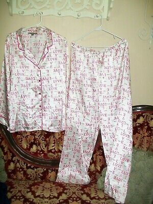 Morgan Taylor Silky PINK HEARTS  2 Piece Love Red Valentine's Pajamas PJ Set 2XL