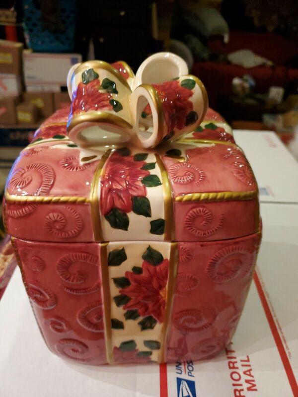 Christmas Cookie Jar Wrapped Gift Ceramic World Bazaars Inc.