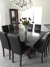 Quality square wooden dining table and 8 leather seats Point Cook Wyndham Area Preview