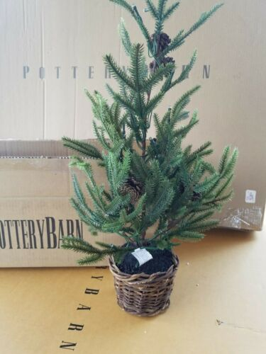 Pottery Barn Lit Faux Pine Trees in Baskets Green Small 18
