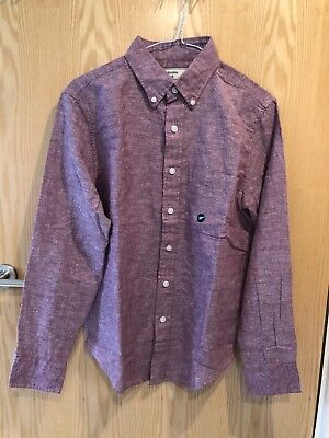 MENS ABERCROMBIE & FITCH RED LONG SLEEVED COTTON SHIRT - SIZE XS...