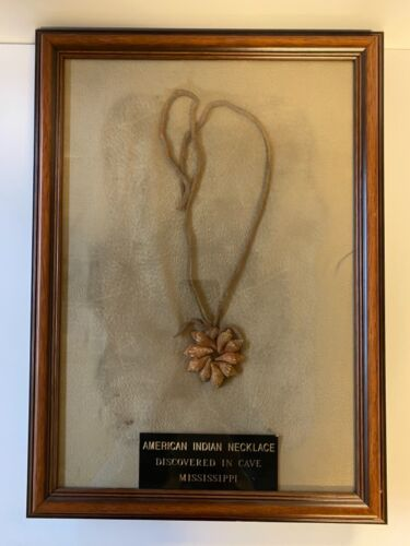 Vintage Shell Necklace Native American Indian; Found in Cave Mississippi; Framed