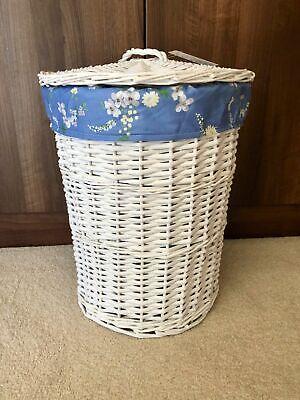 Doppel-weidenkorb (Groß Rund Weiß Doppel Weidenkorb mit Deckel Entfernbarer Blau Blumen)
