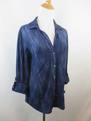 CLOTH STONE ANTHROPOLOGIE WOMENS M MEDIUM BLUE MIX BUTTON SHIRT A59 - $17.49
