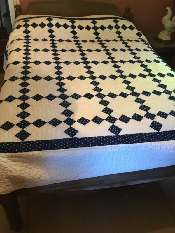 """Vintage Hand Sewn White And Blue  Quilt ~ 82"""" X 78"""""""