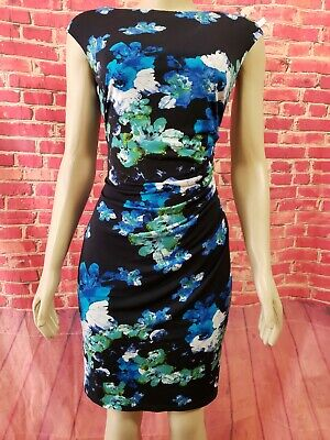 Ralph Lauren Black/Blue Floral  Stretch Ruched Women's Dress Size 8 $170