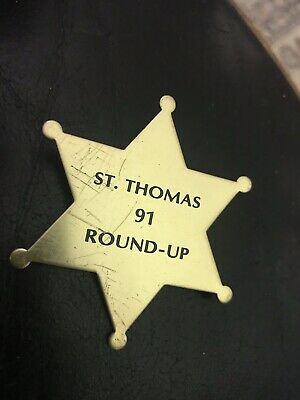 Sherriff Badge (Vintage st. Thomas High School 91 Round Up Gold Tone Star Sherriff Badge)
