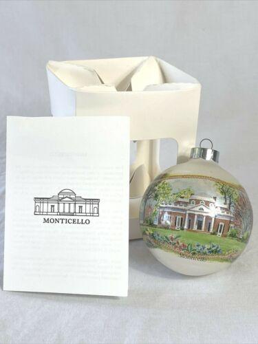 Vintage Jefferson Monticello Plantation Glass Ball Christmas Ornament in Box