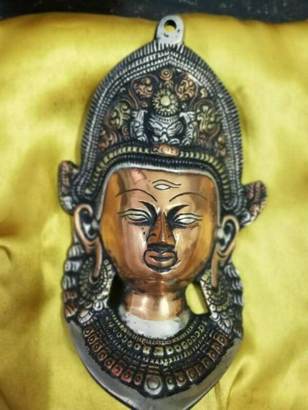Old Ancient Tibet Collect Buddhism Bronze Green Tara Buddha Head Mask Statue B