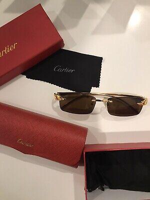 Vintage Cartier Large Panther Enamel Sunglasses with Original Box