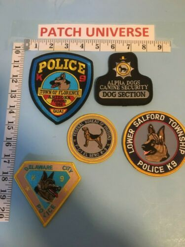 LOT OF 5 DIFFERENT K-9  SHOULDER PATCHES  G023