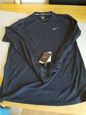 NIKE DRI FIT LONG SLEEVE - Mens Black Running Top - Size L - New with Tags