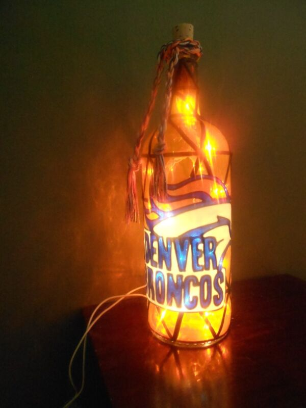 Denver Broncos Inspiered Hand Painted Lighted Wine Bottle Stained Glass look